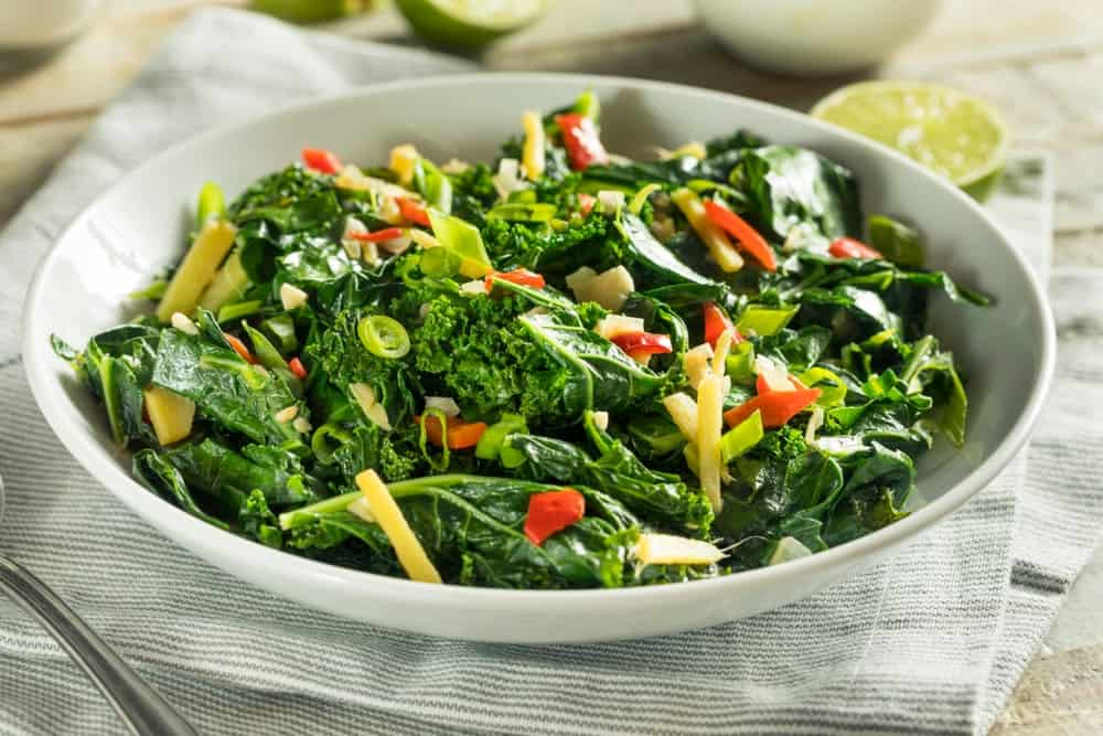 A serving of collard greens salad.