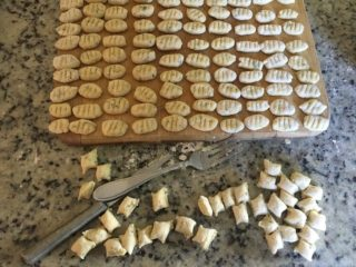 These are the finished gnocchi pieces set aside.