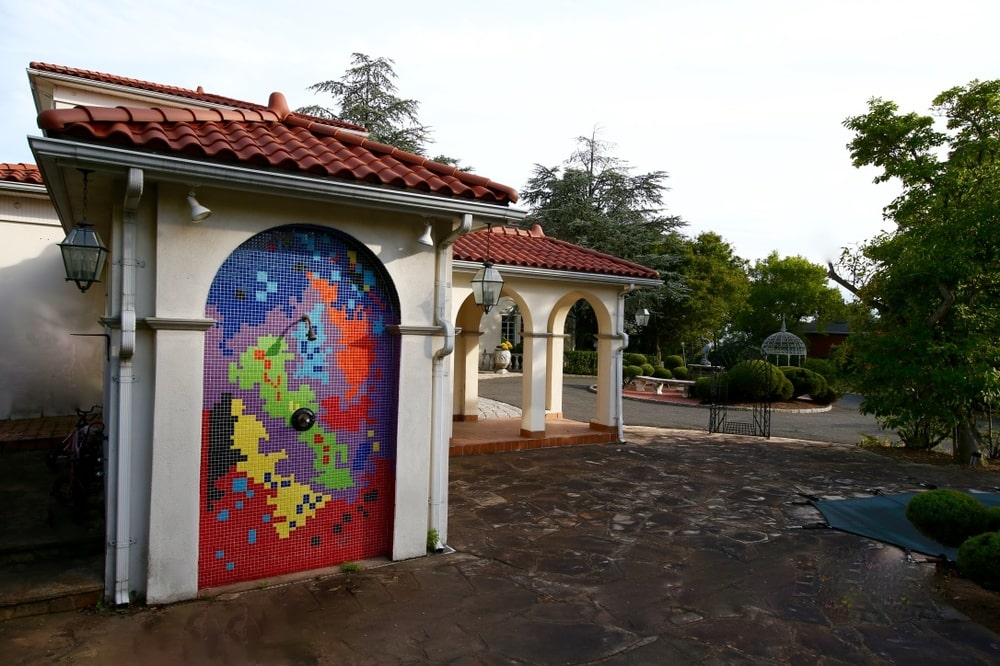 This is a look at the side of the house with a colorful outdoor shower. Image courtesy of Toptenrealestatedeals.com.