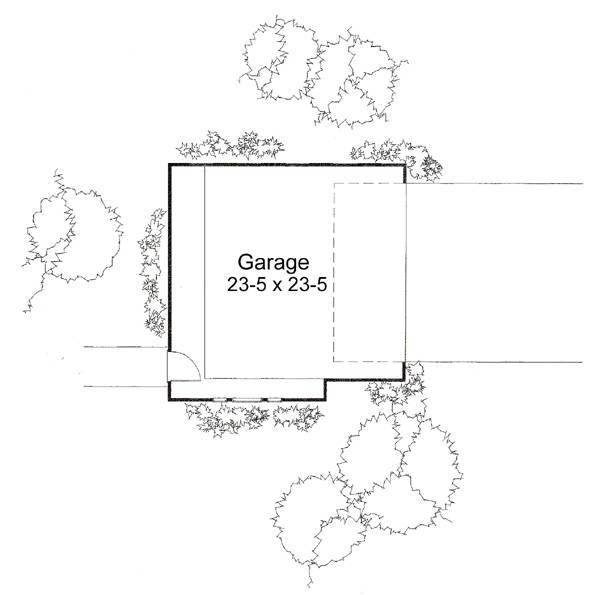 Detached garage floor plan with front entry and a man door on the opposite side.