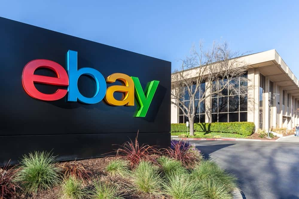 eBay sign at eBay 's headquarters in Silicon Valley, California.