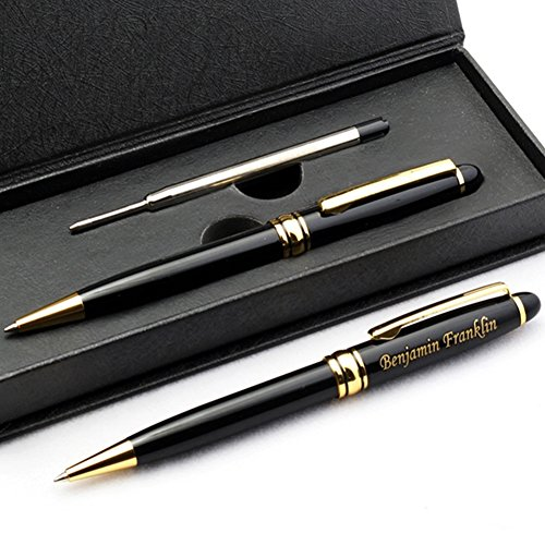 Engraved pen in a black case.