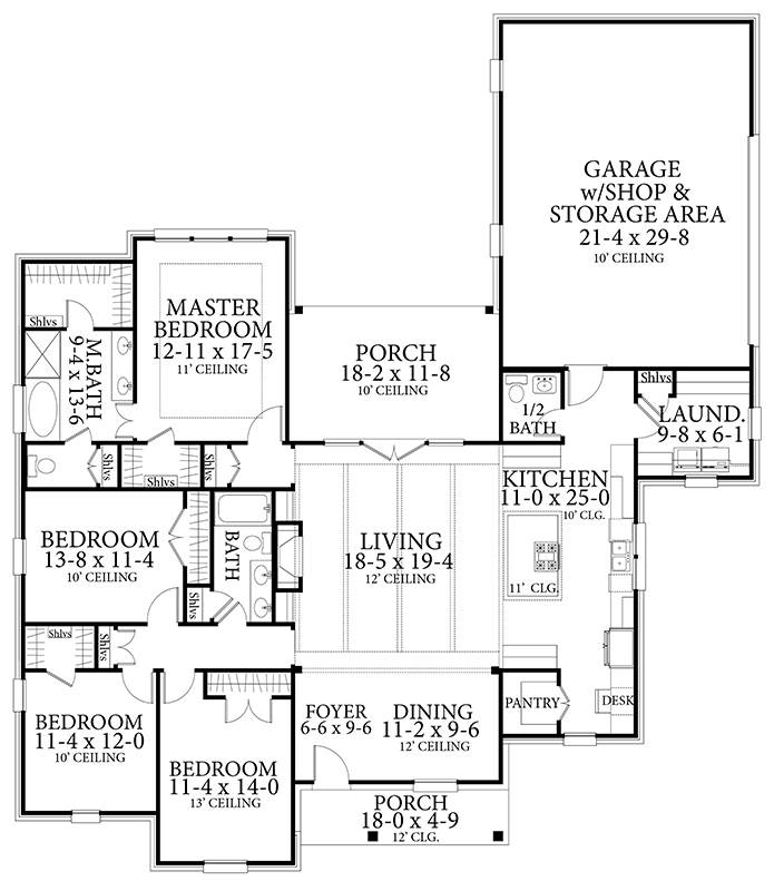 Entire floor plan of a single-story 4-bedroom Greystone traditional style home with foyer, dining area, living room that opens to the porch, kitchen, laundry, and three bedrooms.