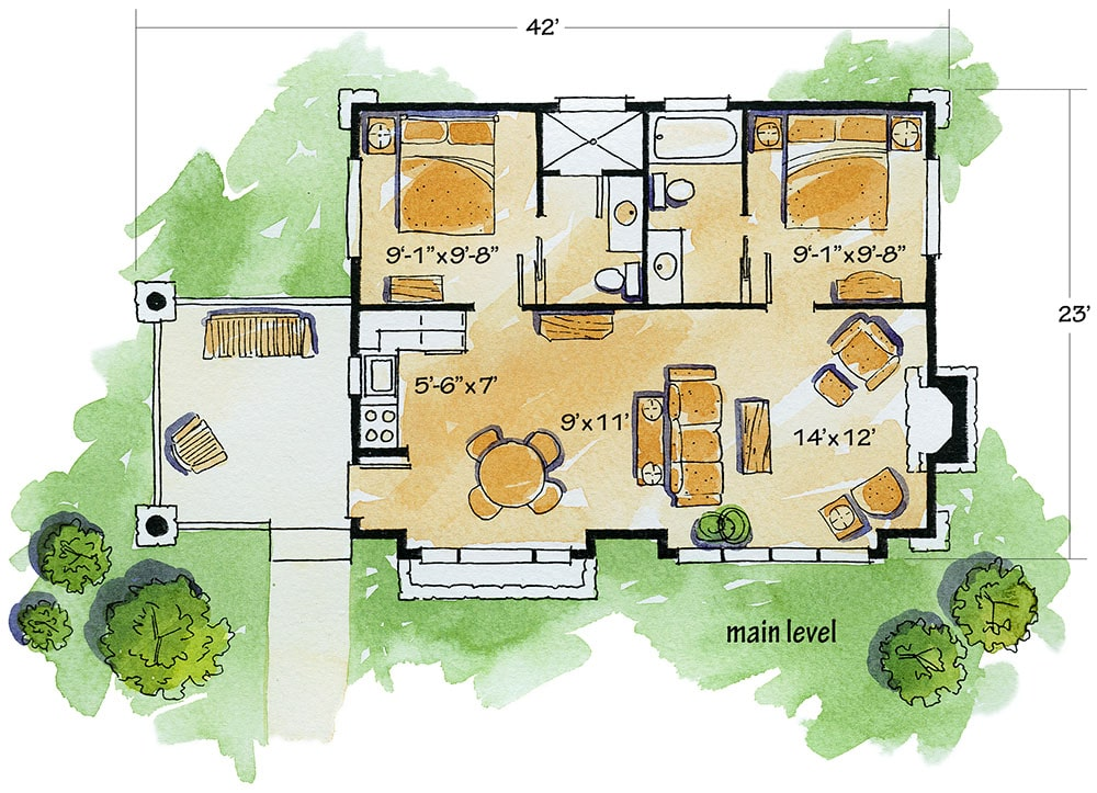Entire floor plan of a single-story 2-bedroom mountain home with covered porch, kitchen, living room, and two bedrooms, each with their own baths.