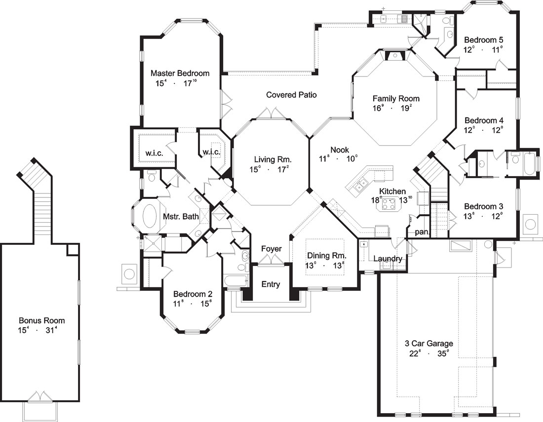Entire floor plan of a single-story 5-bedroom Rembrandt European villa with covered patio, living room, kitchen with breakfast nook, family room, 5 bedrooms, and a bonus room above the three-car garage.