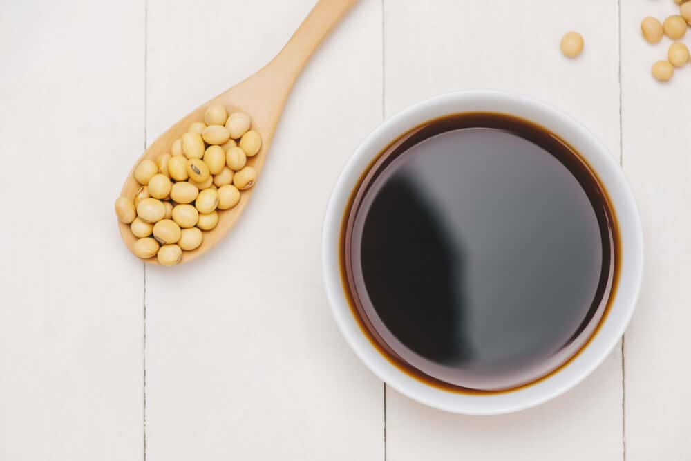 A bowl of soy sauce from soy beans.