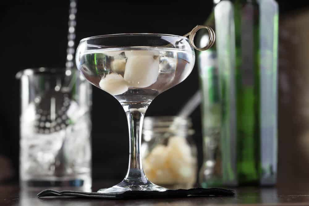 A gibson martini with small-sized onions.