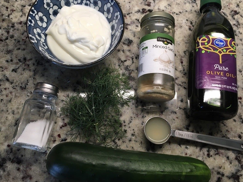 The complete set of ingredients for the Tzatziki Sauce.