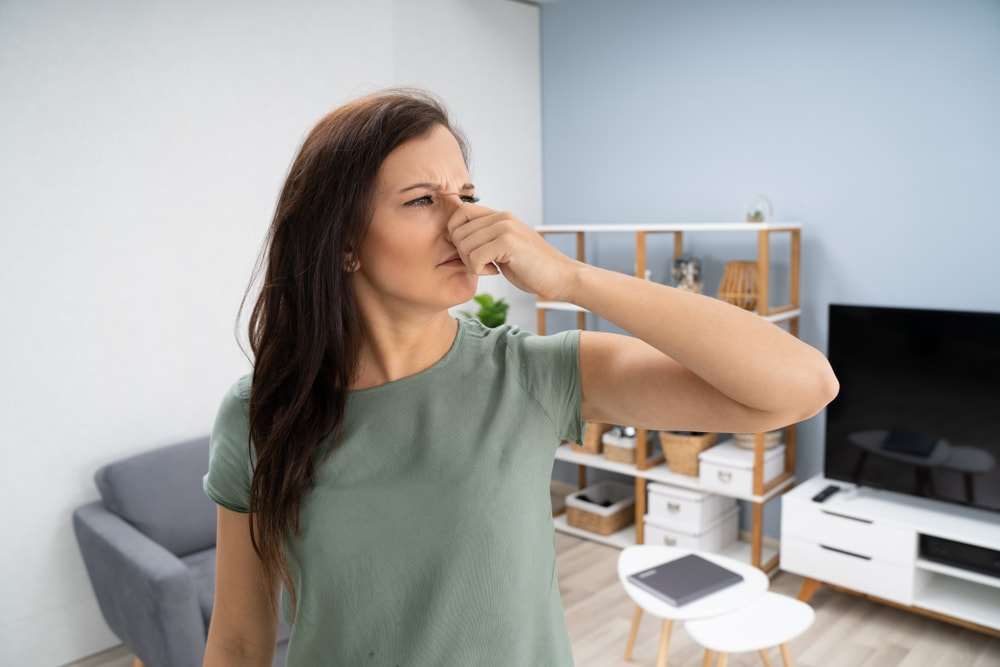 A woman covering her nose from the bad smell in the house.