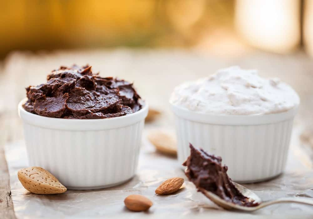 Vegan desserts with nuts on the side.