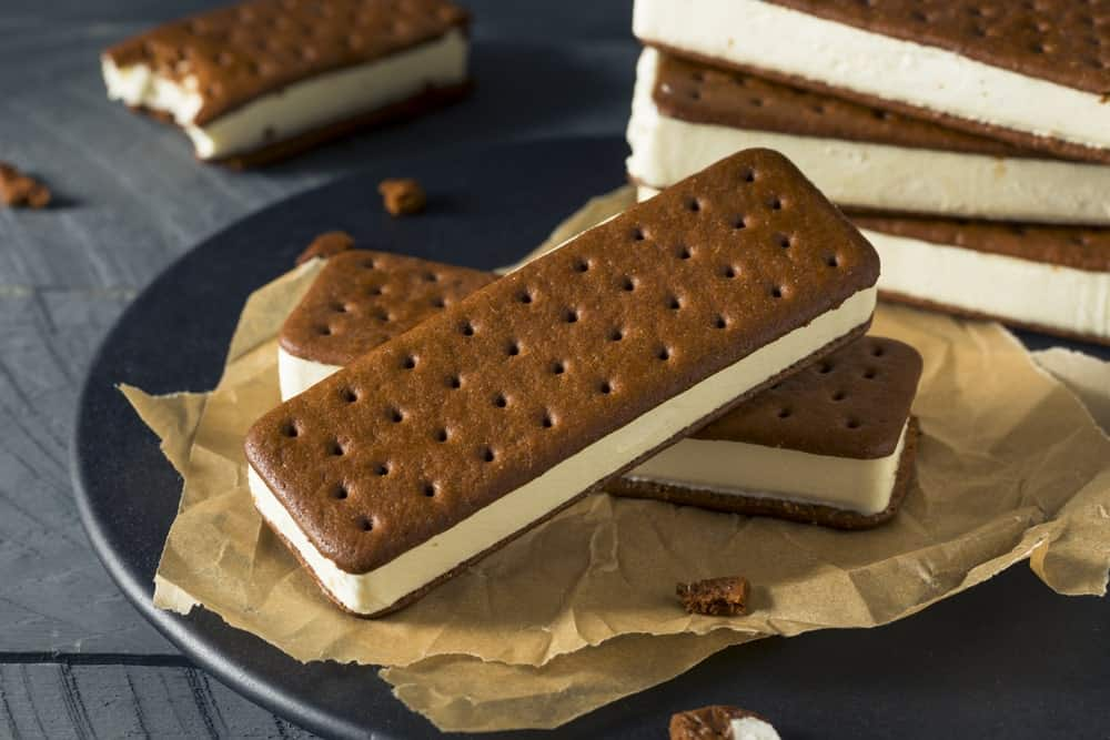 A plate of ice cream sandwiches.