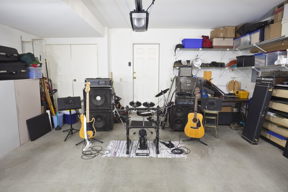 A close look at a garage with a band rehearsal space.