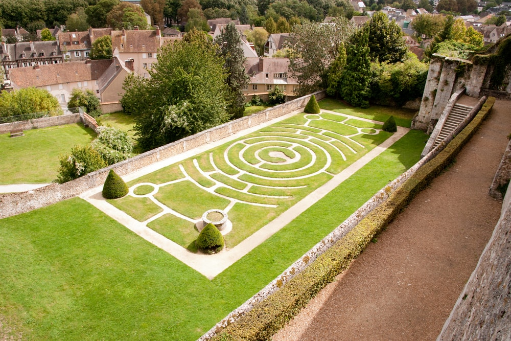 The labyrinth garden behind the Labyrinth of the Cathedral of Chartres.