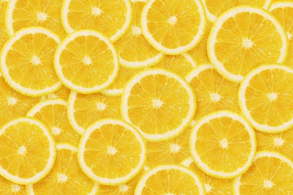 A bunch of lemon slices