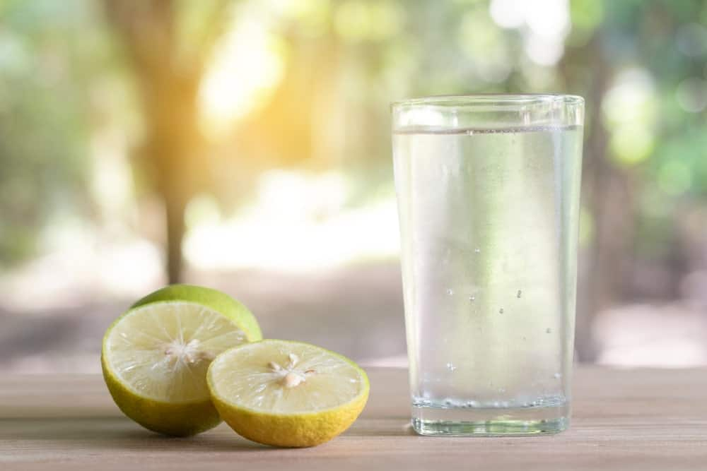 A glass of water with slices of lemon on the side.