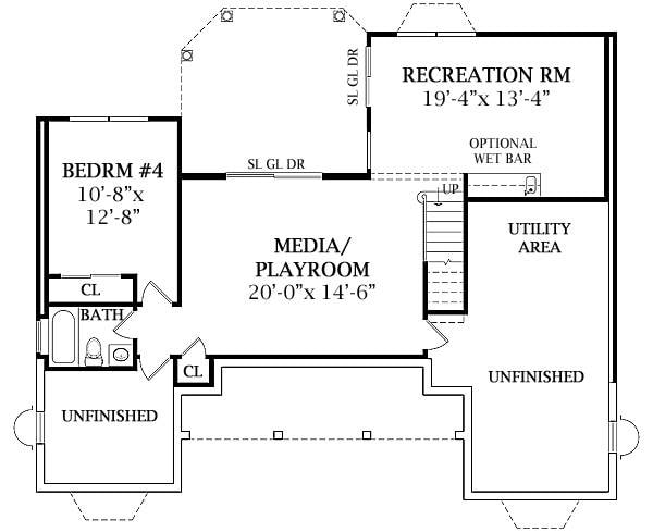Lower Level floor plan with another bedroom, media/playroom, utility area, and a recreation room that opens to the back patio.