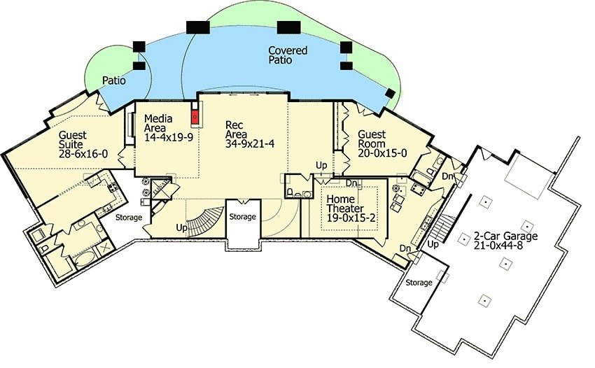 Lower level floor plan with two guest rooms, home theater, media area, and rec area that opens to the rear covered patio.