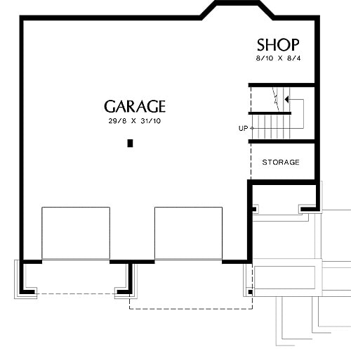 Lower level floor plan with a double garage that comes with storage space and a workshop.