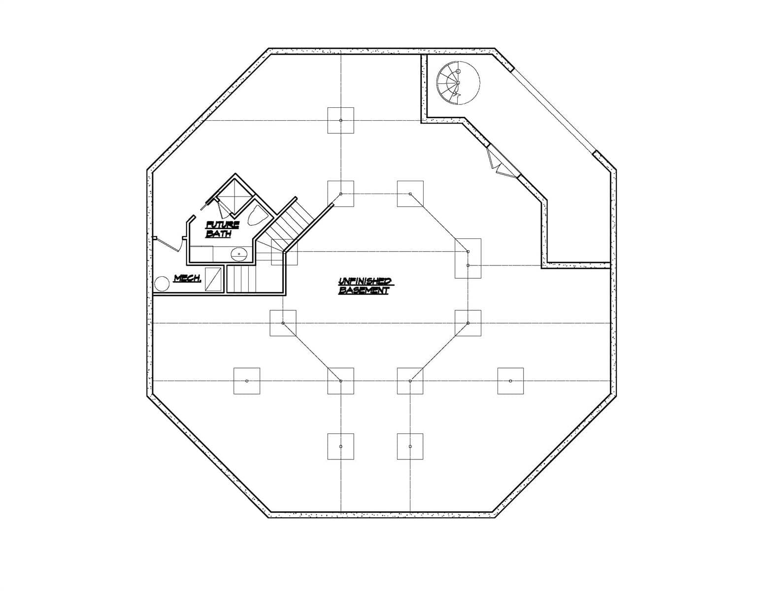 Lower level floor plan with future bath and mechanical room.