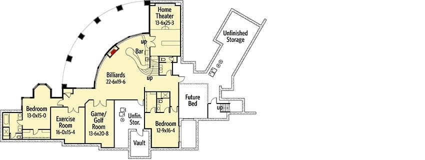 Lower level floor plan with two bedrooms, an exercise room, game/golf room, home theater, and a recreation room with billiards and a wet bar.
