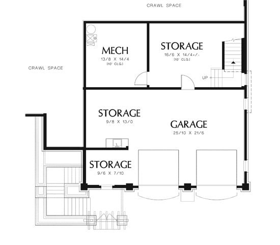 Lower level floor plan with mechanical room and plenty of storage spaces.