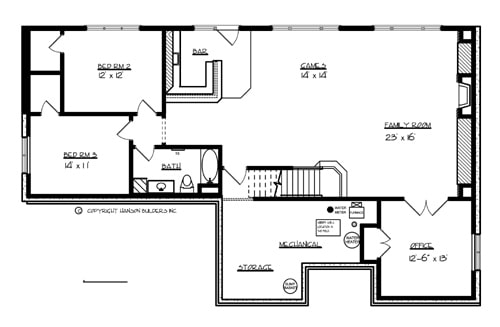 Optional lower level floor plan with two bedrooms, office, family room, and game room with a bar.