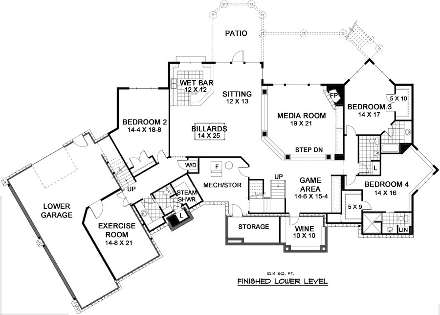 Lower level floor plan with three bedrooms, exercise room, wine cellar, media room, and an enormous recreation room complete with a wet bar, sitting area, billiards, and game area.