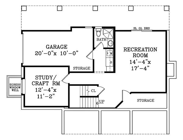 Lower level floor plan with recreation room, study/craft room, and a laundry room that opens to the garage.