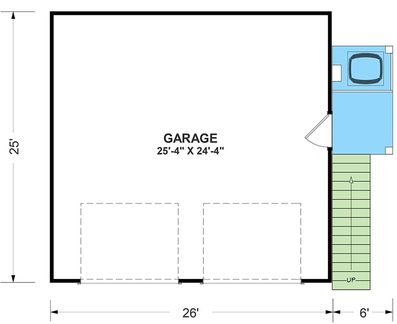 Main level floor plan of a 1-bedroom two-story carriage home with parking for two cars and an exterior staircase leading to the living area above.