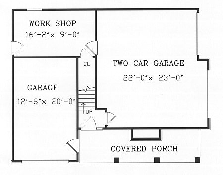 Main level floor plan of a 1-bedroom two-story Highpoint 2 cottage with covered porch, two garages, and a workshop.