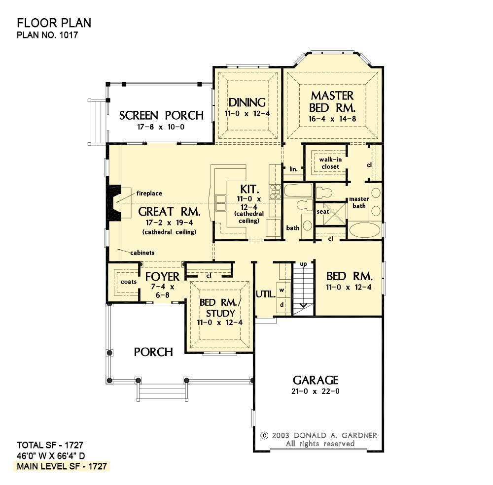 Main level floor plan of a 3-bedroom single-story The Jarrel ranch with three bedrooms, utility, kitchen, formal dining room, and a great room that opens to the screened porch.