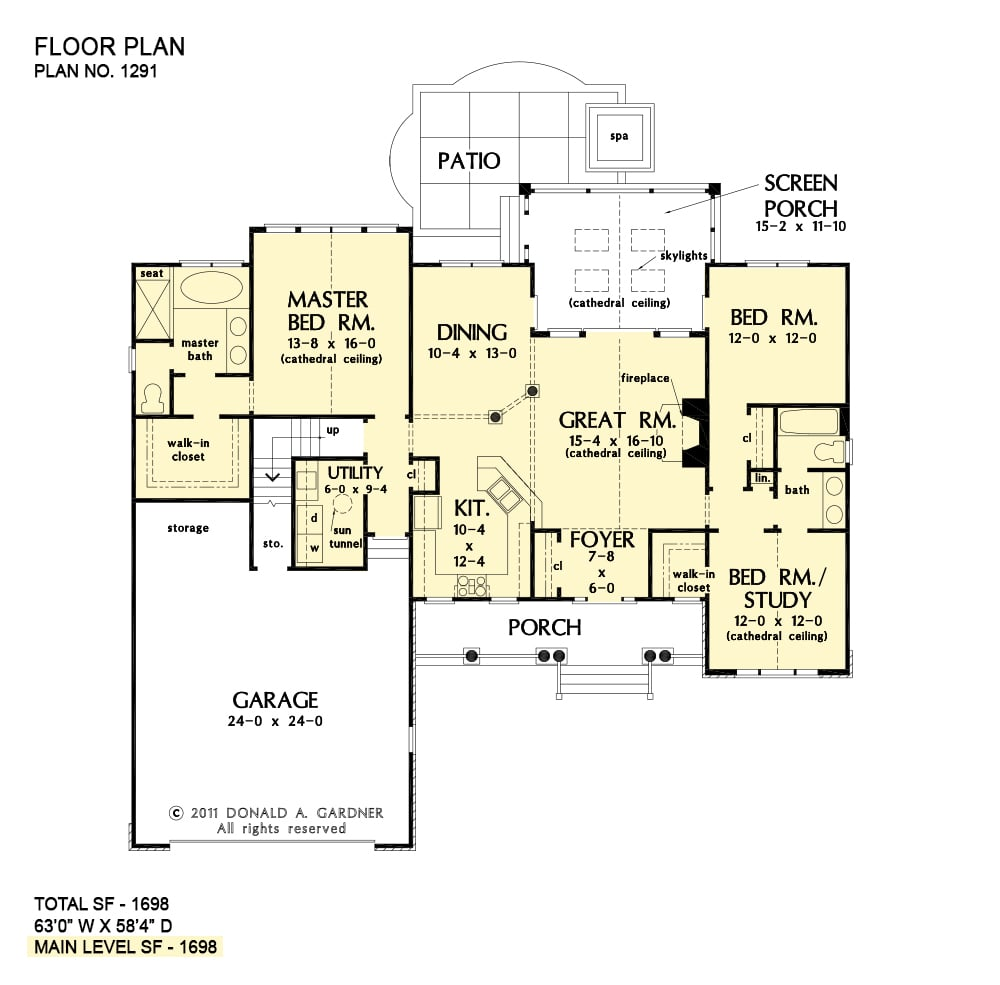 Main level floor plan of a 3-bedroom single-story The Landry stone ranch home with kitchen, formal dining room, three bedrooms, utility, and a great room that opens to the screened porch.