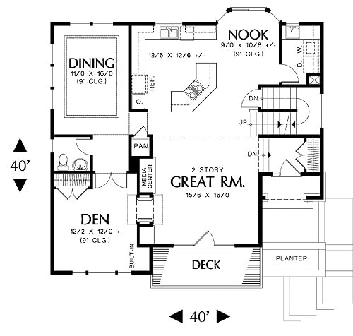 Main level floor plan of a 3-bedroom two-story Banbury beach home with formal dining room, kitchen with breakfast nook, den, and a great room that opens to a deck.