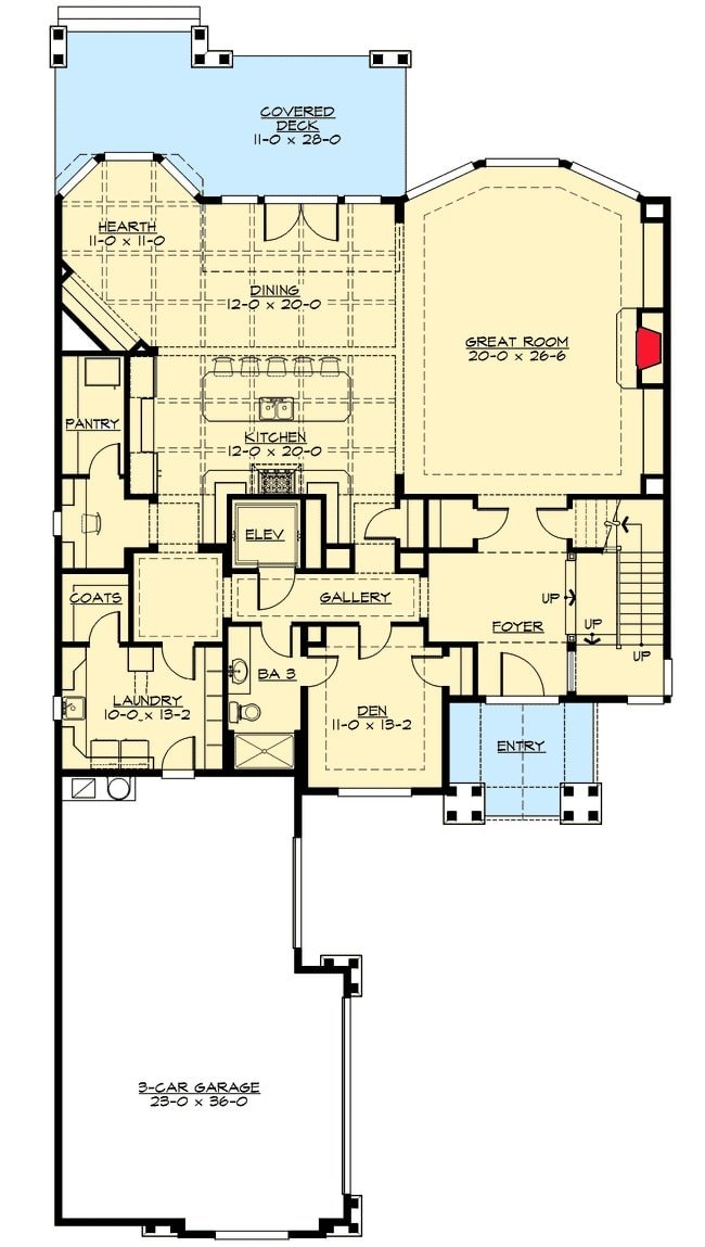 Main level floor plan of a 3-bedroom two-story cape cod home with foyer, great room, den, laundry, kitchen, hearth, and dining room that opens out to the covered rear deck.