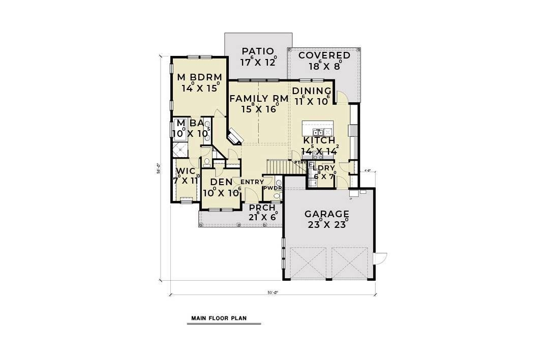 Main level floor plan of a 3-bedroom single-story contemporary farmhouse with den, family room, dining area, kitchen, primary suite, and lots of outdoor spaces.