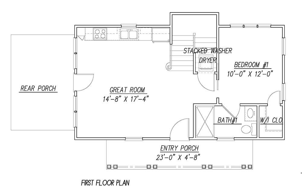 Main level floor plan of a 3-bedroom two-story Katrina cottage with a great room that opens to the rear porch, kitchen, laundry, and a bedroom complete with a bath and closet.