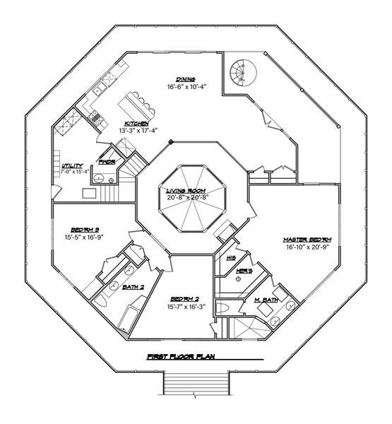Main level floor plan of a 3-bedroom two-story Octagon modern style home with octagonal living room, shared kitchen and dining area, utility, and three bedrooms, all with private access to the full wrap-around porch.