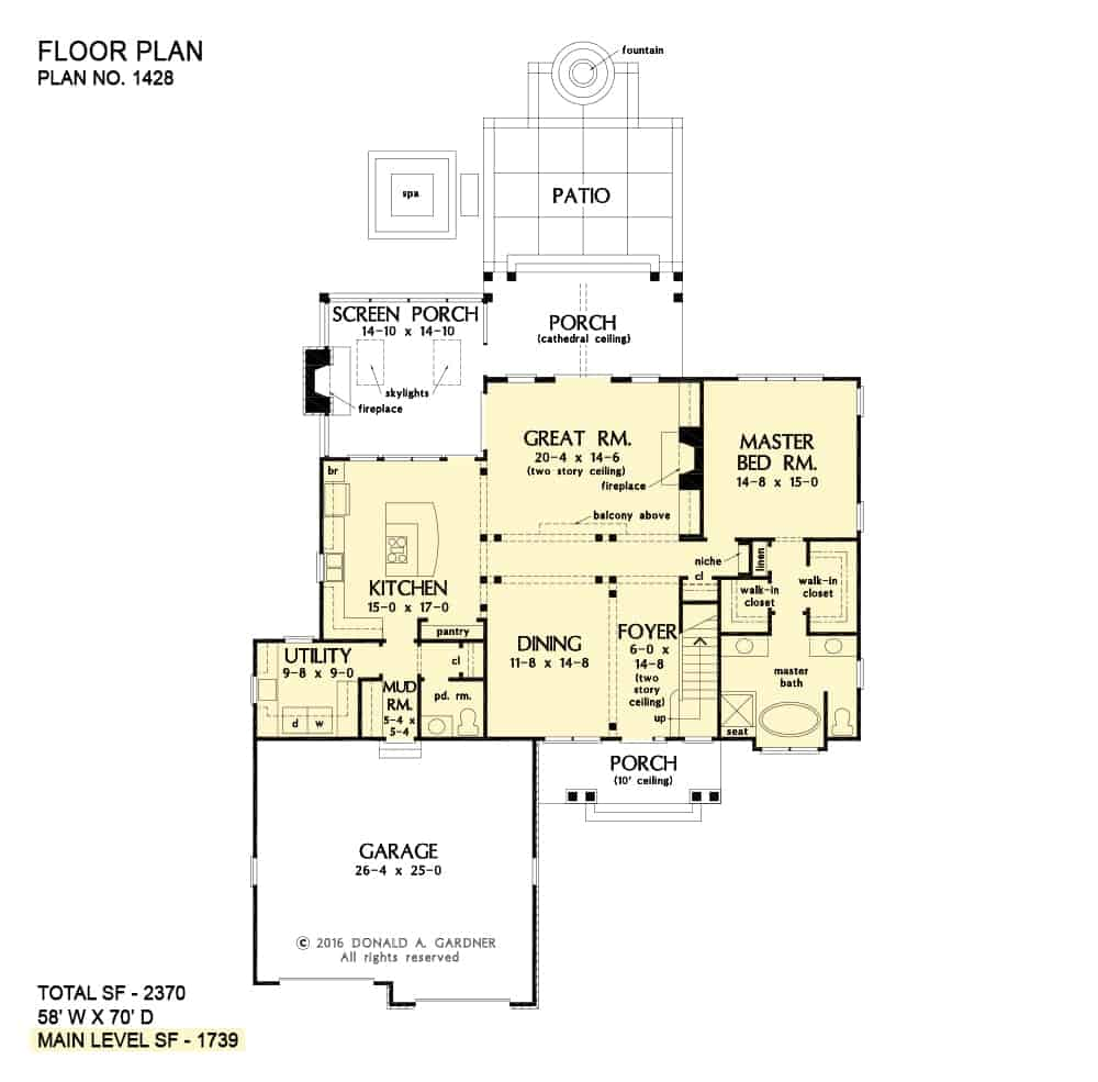 Main level floor plan of a two-story The Oscar cottage with a formal dining room, great room, a kitchen that opens to the screened porch, primary suite, and a mudroom leading to the garage.