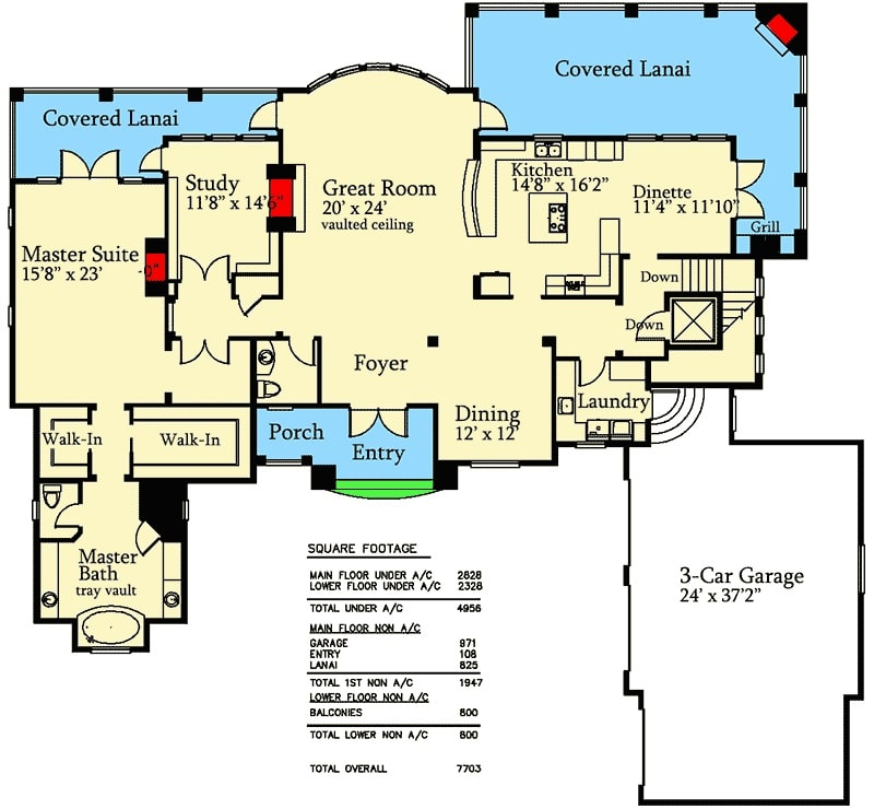 Main level floor plan of a 4-bedroom single-story mountain home with great room, dining area, kitchen with dinette, study, and a primary suite with lanai access.