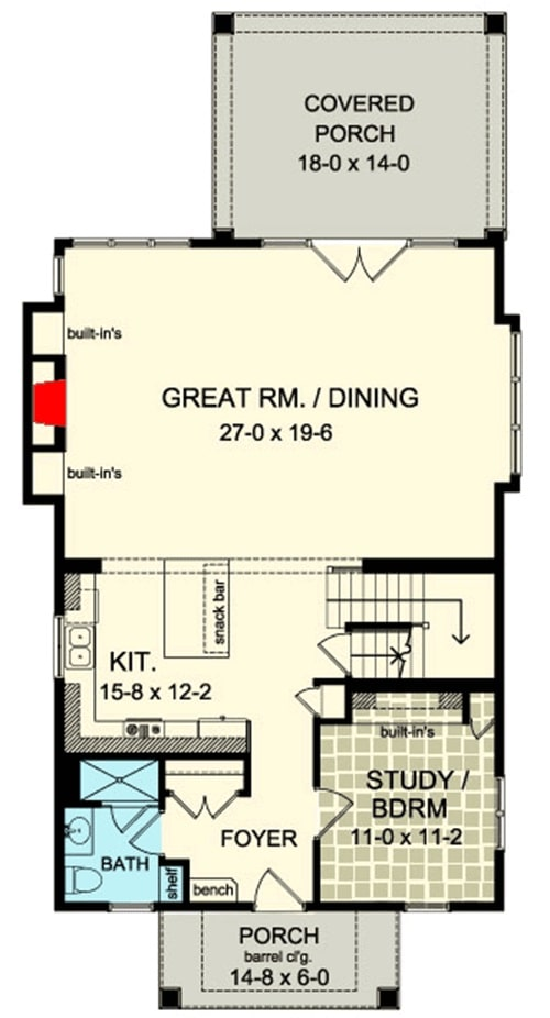 Main level floor plan of a 4- bedroom two-story country cottage home with foyer, flexible study/bedroom, kitchen, and a shared dining and great room that opens to the back porch.