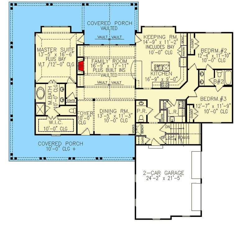 Main level floor plan of a 4-bedroom two-story country home with a covered wrap-around porch, family room, formal dining room, kitchen, keeping room, two bedrooms, and a primary suite.