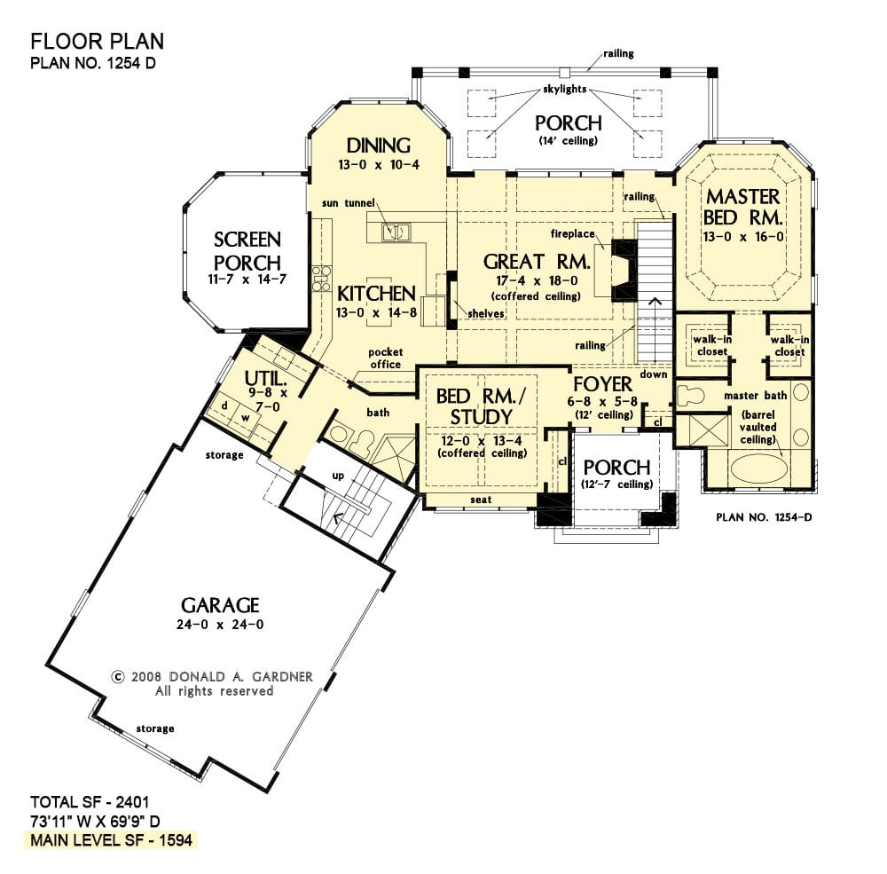 Main level floor plan of a 4-bedroom two-story craftsman style The Silvergate home with great room, kitchen, dining area that opens to a screened porch, angled garage, and two bedrooms including the primary suite and a flexible study.