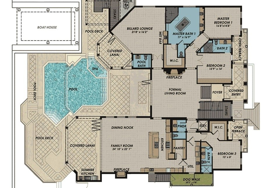 Main level floor plan of a 4-bedroom two-story Florida home with formal living room, family room, kitchen, dining nook, three bedrooms, and a billiard lounge that extends to the covered lanai.