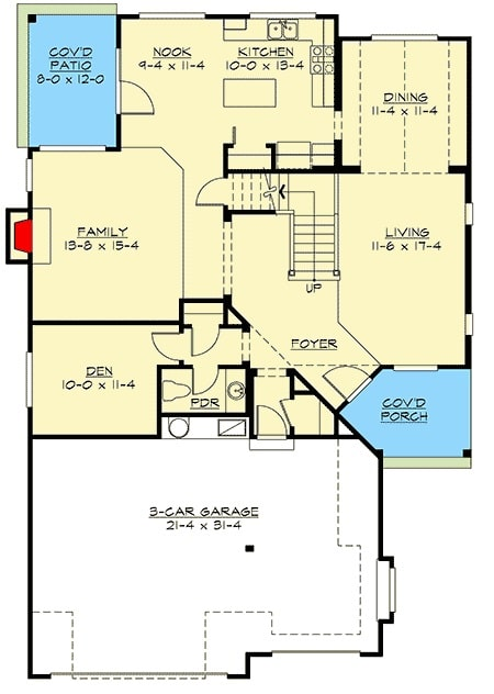 Main level floor plan of a 4-bedroom two-story Northwest home with 3-car garage, covered porches, living room, dining room, den, family room, and a kitchen with breakfast nook.