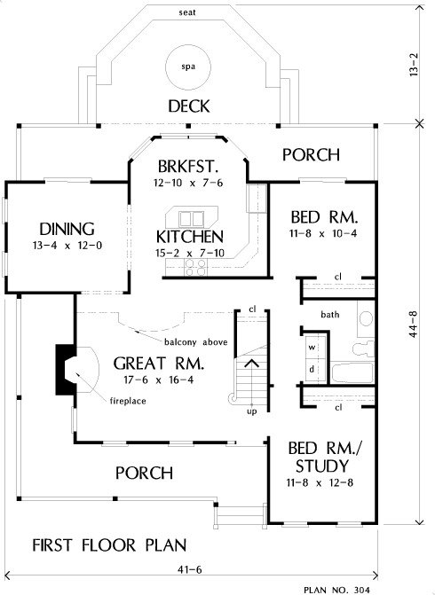 Main level floor plan of a 4-bedroom two-story The MacLeish country home with an L-shaped front porch, great room, formal dining area, kitchen with breakfast nook, and two bedrooms sharing a hall bath.