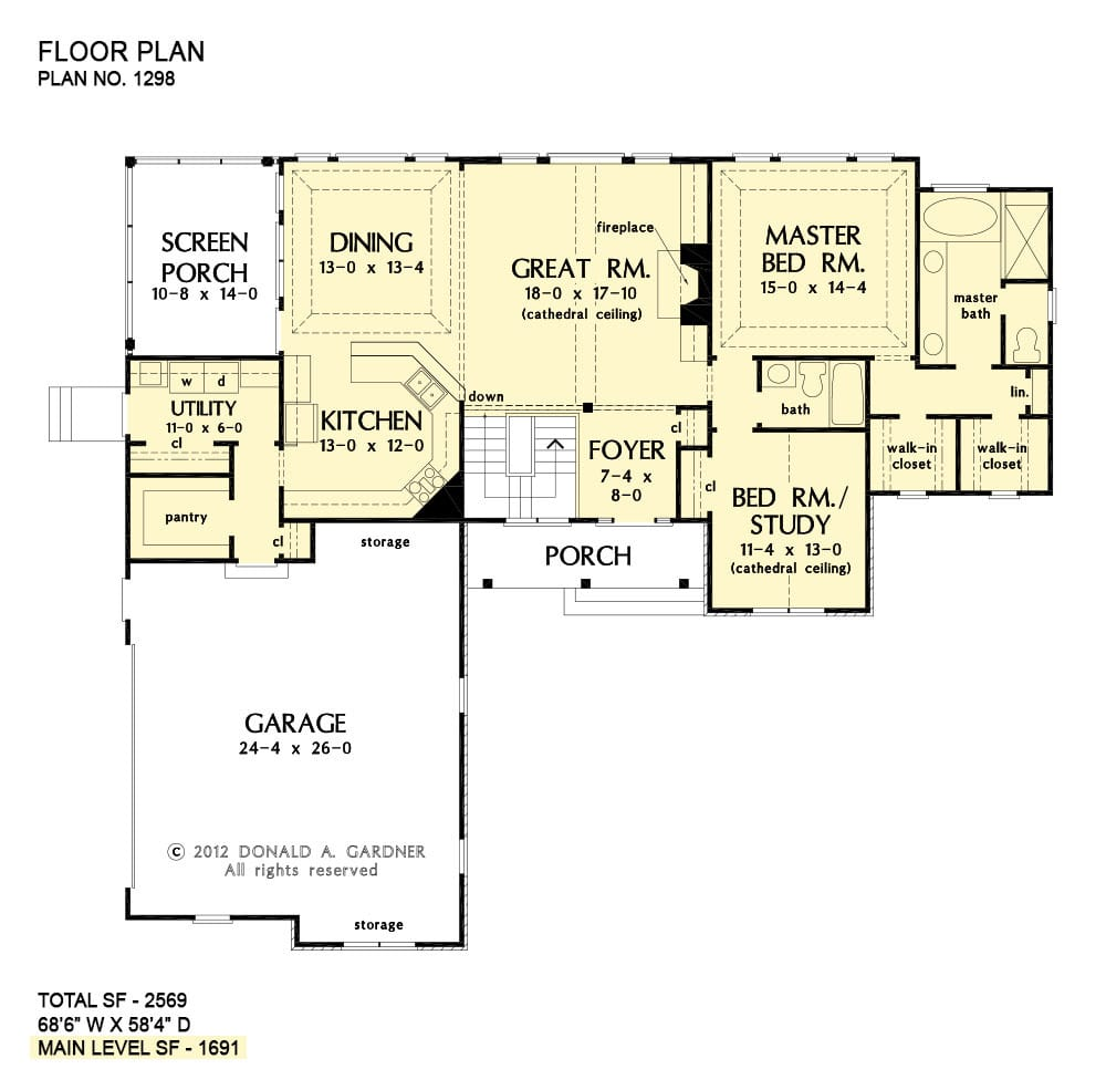 Main level floor plan of a 4-bedroom two-story The Whitford country home with great room, dining area that opens to a screened porch, kitchen, utility, And two bedrooms including the primary suite and a flexible study.