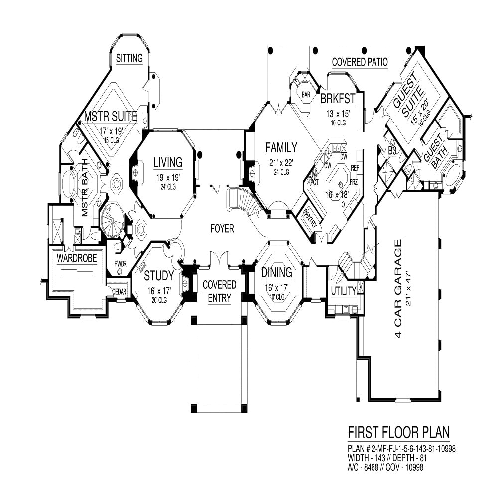 Main level floor plan of a 4-bedroom two-story traditional Bedfordshire home with grand foyer, study, formal dining room, living room, family room, and two bedrooms including the primary and guest suites.