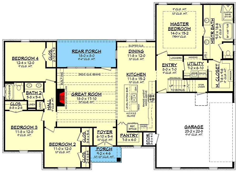 Main level floor plan of a 5-bedroom single-story New American home with 5 bedrooms, utility room, kitchen, dining area, and a great room that opens out to the rear porch.