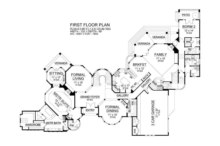 Main level floor plan of a 5-bedroom two-story Miramar European style home with formal living and dining, grand foyer, kitchen with breakfast nook, family room, and two bedrooms including the primary suite with veranda.
