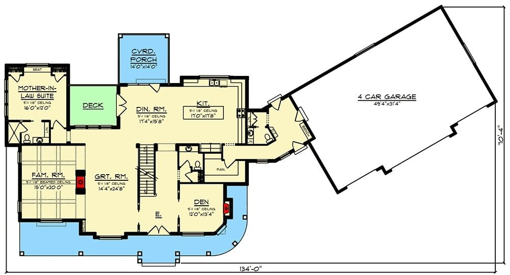 Main level floor plan of a 5-bedroom two-story modern farmhouse with an expansive front porch, great room, den, kitchen, family room, mother-in-law-suite, and dining room that opens to the deck and covered rear porch.